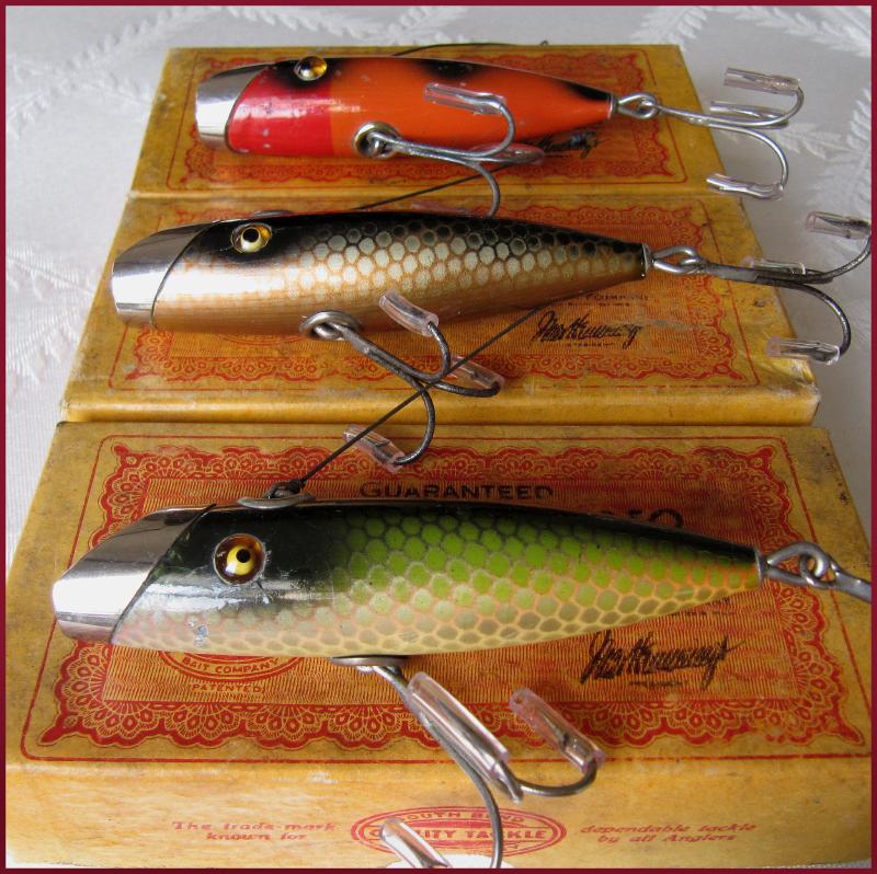 Old antique fishing lures heddon creek chub pflueger for Vintage fishing lures